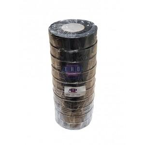 Lot de 10 rubans adhésifs Noirs PVC 19 mm x 20 m