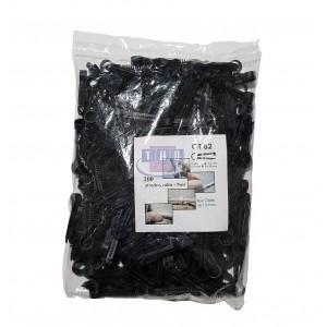 Sachet de 200 pontets chevilles noirs pour câbles Ø 5-6 mm